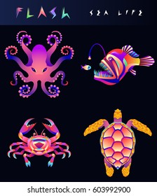 Set of modern multicolored fish and sea food icons. Abstract design logo, badge, label, sticker. Vector stock illustration. Octopus, angler, crab, turtle