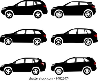 Set of modern off-road, sport utility vehicles silhouettes. Layered vector illustration. One of the similar in series of car silhouettes