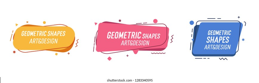 Set of modern organic shapes. Fluid vector trendy elements. Template graphics with geometric speech bubbles and banners with frames to put your own text
