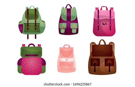 Set of modern outdoor backpacks of different shapes and colors for various people. Vector illustration in flat cartoon style.