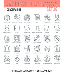 Set of modern outline icons of coronavirus, personal hygiene, healthcare diagnosis, treatment, and other. Perfect for use in: Website, Presentation, Illustrations for Infographics.