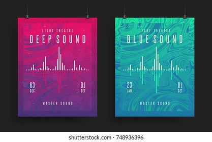 Set of modern party posters. Colorful abstract psychedelic gradient backgrounds. Vector template for your art, flyers, posters, covers, banners. Eps10 vector illustration