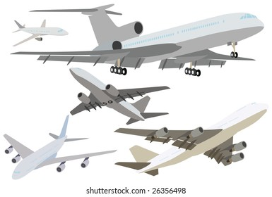 The set of modern passenger jet planes