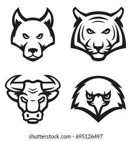 set of modern professional animal mascots for a sport team. tiger, wolf, bull, eagle faces. vector illustration