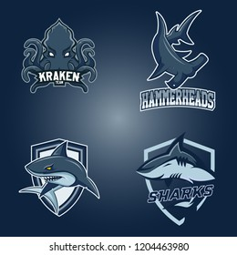 Set of modern professional logo for sport team. Sharks, hammerheads kraken mascot Vector symbol on a dark background