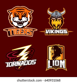 Set of modern professional logo for sport team. Tiger, viking, tornados, lion mascot. Vector symbol on a dark background.