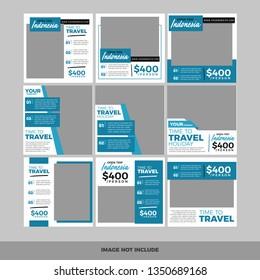 Set of modern promotion square web banner for social media mobile apps