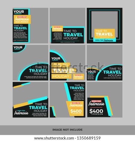 Set Modern Promotion Square Web Banner Stock Vector (Royalty