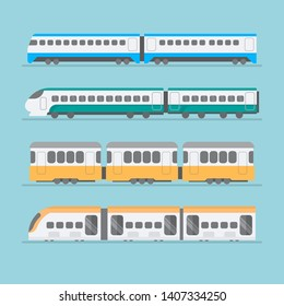 Set of modern railway transport: locomotives, speed passengers trains, wagons. Railroad transportation and cargo carriage coal. Logistics industry vector illustration in flat style, isolated on white