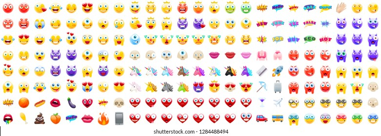Set of Modern Realistic Emojis for Numerous Occasions. Detailed Icons for Good Resolution or Printed Products Like Postcards or Books. Perfect for Social Media Content and Online Marketing Campaign