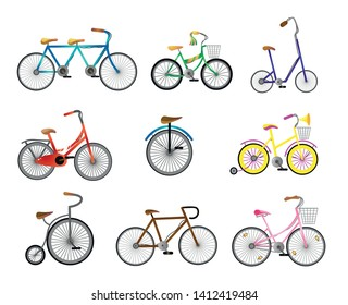 Set of modern retro bicycle for city street ride