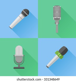 Set of modern and retro microphones. Flat style icons. Vector illustration.