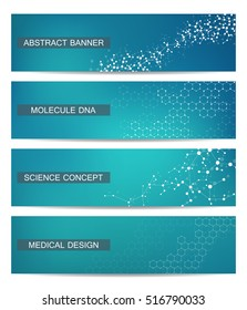 Set of modern scientific banners. Molecule structure of DNA and neurons. Abstract background. Medicine, science, technology, business and website templates. Vector illustration for your design.