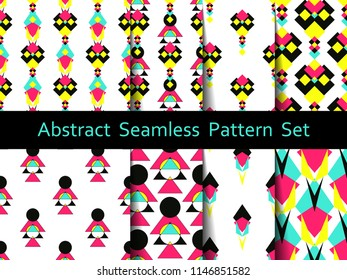 Set of modern seamless pattern backgrounds. Nice and beautiful vector grafic illustration
