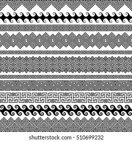 Set of modern seamless vector brushes for creating frames, borders, dividers in a Greek meander. Linear ornaments and patterns for invitations, birthday, greeting cards. The brush included in the file