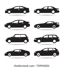 Set of modern shapes and Icons of Cars. Vector Illustration.