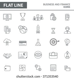 Set of modern simple line icons in flat design. Trendy infographic business and finance concept elements for banners, layouts, corporate  brochures, templates and web sites. Vector eps10 illustration