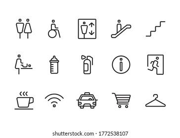 set of modern simple wayfinding signage icons