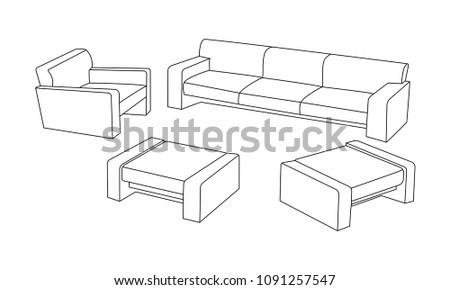 Set Modern Sofa Icon Design Living Stock Vector Royalty Free