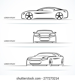Set of modern sports car outlines. Vector illustration
