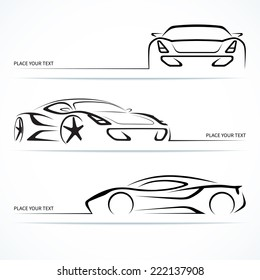 Set of modern sports car silhouettes. Vector illustration