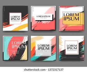 Set of modern square banner design for social media, Promotion square sale banner, Vector illustration.