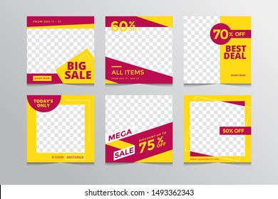 Set modern square editable banner template.Suitable for social media post and web,Vector illustration