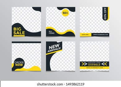 Set modern square editable banner template.Suitable for social media post and web,u002Finternet ads.Vector illustration with photo college