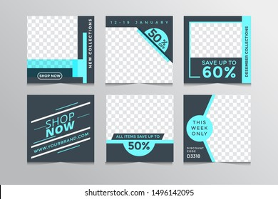 Set modern square editable banner template.Suitable for social media post and web,Finternet ads.Vector illustration with photo college.