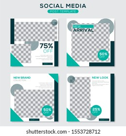 Set modern square editable banner template. Minimalist design. Suitable for social media post and web. Vector illustration with photo college.