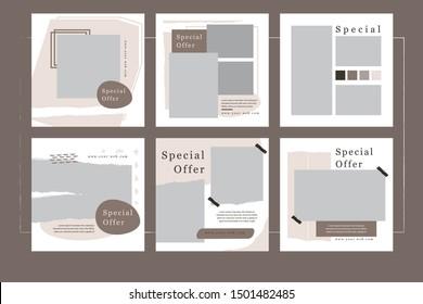 Set of modern square web banner for social media mobile apps