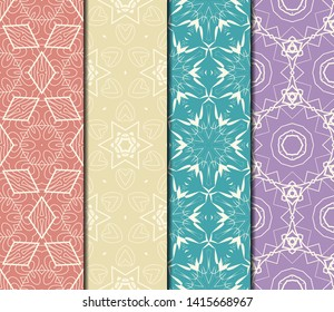Set of Modern Stylish Geometry Seamless Pattern Art Deco Background. Luxury Texture For Wallpaper, Invitation. Vector Illustration.