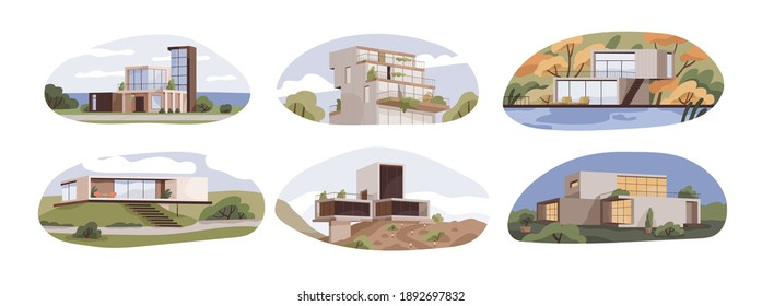 Set of modern suburban houses with terraces and panoramic windows. Exteriors of villas, maisons and cottages of contemporary architecture style. Flat vector illustration isolated on white background