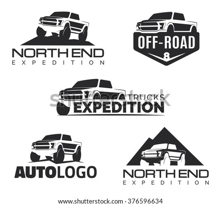 Set Modern Suv Pickup Emblems Icons Stock Vector Royalty Free