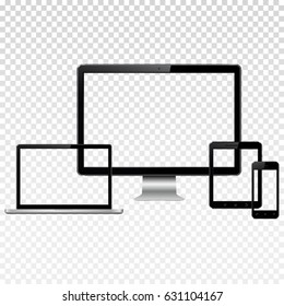 Set of modern technology devices template for responsive design presentation. Mockup consist of laptop, smartphone and tablet pc with transparent screen. Isolated on transparent background.