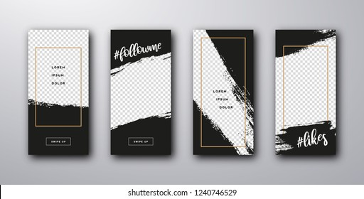 Set of modern templates for the phone. Stories template. Vector illustration smartphone screen.