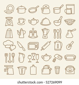Set of modern thin line icons home tableware, household and kitchen utensils