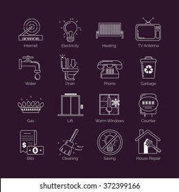 A set of modern thin line white public utility, housing facilities, communal housing services vector icons