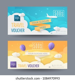 Set of modern travel vouchers in the paper style with an airplane, balloons, ribbons. Vector scene with 3D elements cut out of paper for gift card, coupon, certificate. Isolated from the background.