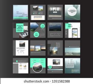 Set of Modern trendy covers idea. Editable simple info banner shop. Slides for app, web design digital style for social media pack. Square handpicked beauty posts, brochure layout design.