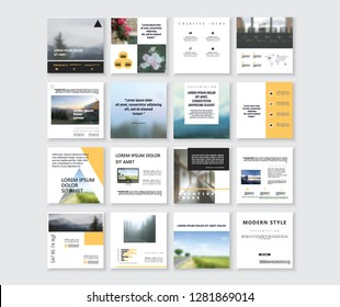 Set of Modern trendy magazine covers. Editable simple corporate posts, modern info banner,