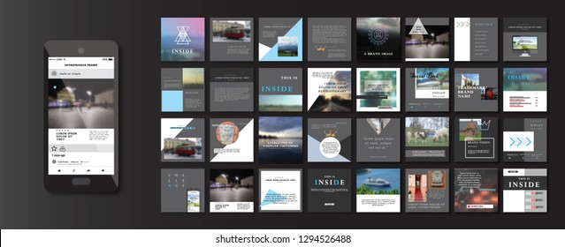 Set of Modern trendy magazine covers. Editable simple corporate posts, modern info banner. DARK VERSION. Slides for app, web design corporate style for social media pack. Square handpicked posts.