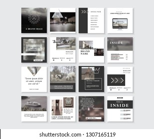 Set of Modern trendy magazine covers. Editable simple corporate posts, modern info banner. BLACK DARK VERSION. Slides for app, web design corporate style for social media pack. Square handpicked posts