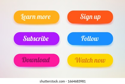 Set of modern ui buttons. User interface template. Vector illustration