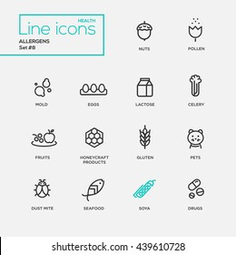 Set of modern vector Allergens plain simple thin line design icons and pictograms: nuts, pollen, seafood, mold, lactose, eggs, celery, fruits, honeycraft products, pets, gluten, dust mite, soya, drugs