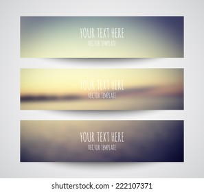 Set of modern vector banners with blurred unfocused background for business design, step presentation, number options, websites or workflow layout. Clean and modern style design
