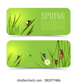 Set of modern vector banners with spring theme