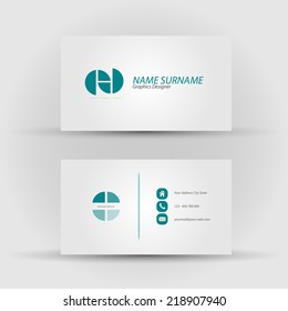 Set of modern vector business card template - front and mack side
