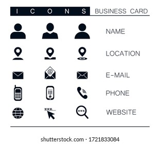 Set of modern vector business icons isolated on white background. Symbol of location, mail, phone, website. Clip art for business card design. Communication, marketing, advertising icon set