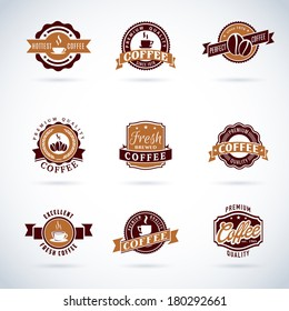 Set of modern vector coffee badges and labels